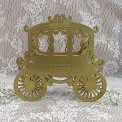 3D Ξύλινο διακοσμητικό κασπώ βάπτισης με θεμα Άμαξα Πριγκίπισσας
