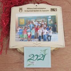 Ξύλινο ημερολόγιο κορνίζα βιβλίο με φωτογραφία