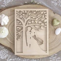 Ξύλινο προσκλητήριο γάμου 2 οψεων ζευγάρι δέντρο